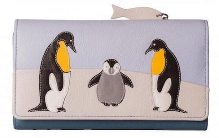 Ollie Penguin Large Trifold Leather Purse
