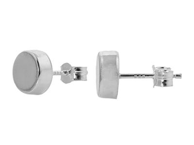 Sterling Silver Flat Round Stud Earrings
