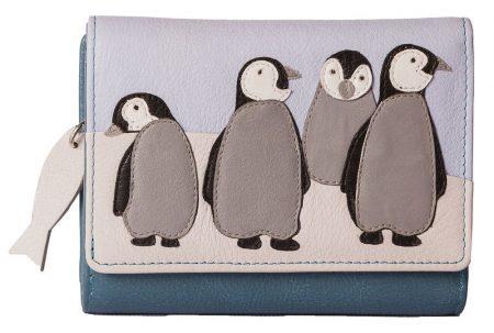 Ollie Penguin Trifold Leather Purse