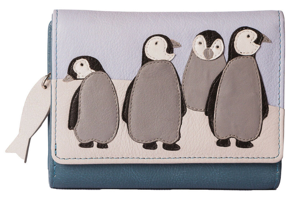 Ollie Penguin Trifold Leather Purse
