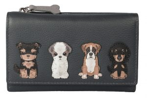 Grey Sitting Dogs Trifold Leather Purse