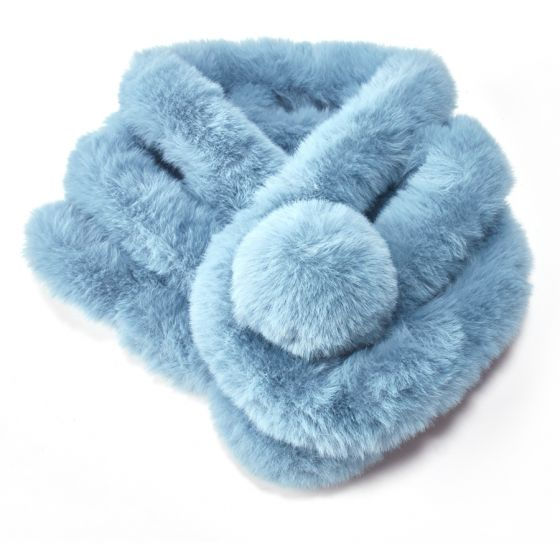 Faux Fur Pom Pom Snood - blue