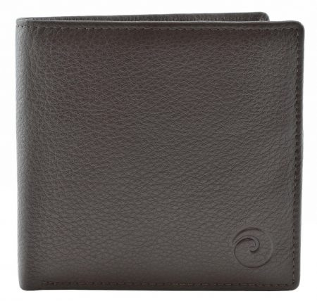 Slim Wallet with Zipped Coin Pocket with RFID - Brown