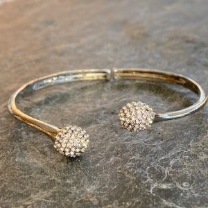 Crystal Ball Bangle - Silver