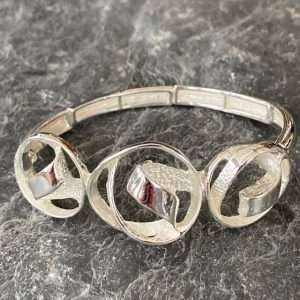 Contemporary Elasticated Bracelet - Silver
