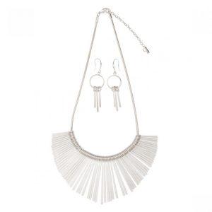 Fan Necklace & Earring Set - Matt Silver