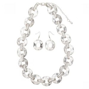 Contemporary Necklace & Earring Set - Silver