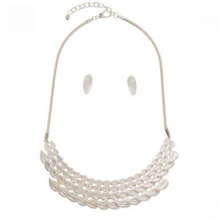 Leaf Necklace & Earring Set - Silver
