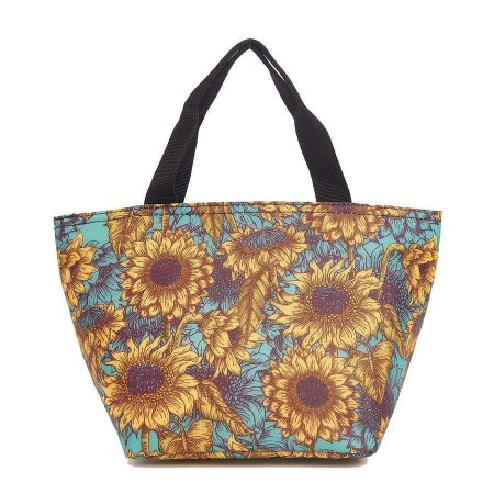 Insulated Lunch Bag - Teal Sunflower