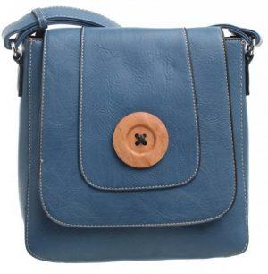 Bessie London Button Across Body Bag - Blue