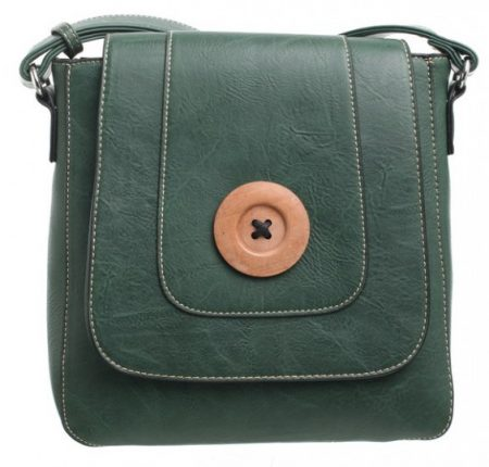 Bessie London Button Across Body Bag - Green