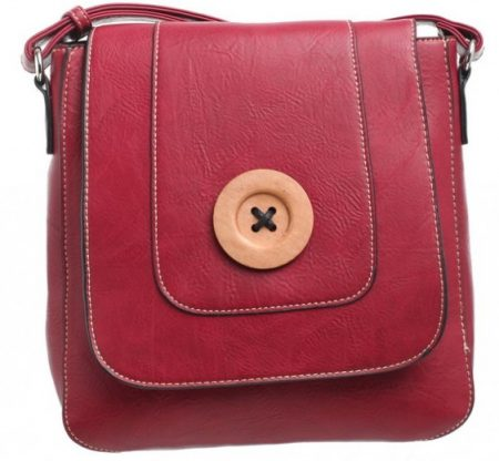 Bessie London Button Across Body Bag - Red