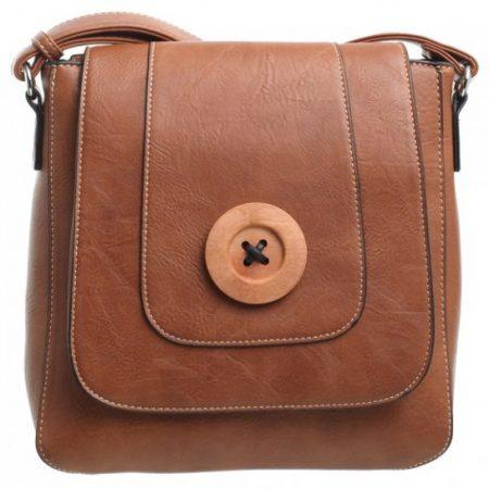 Bessie London Button Across Body Bag - Tan