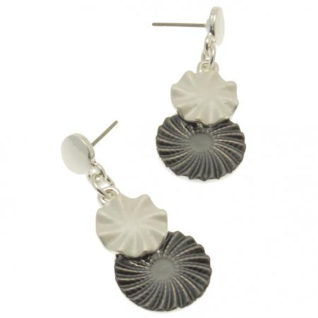 Grey Flower Earrings