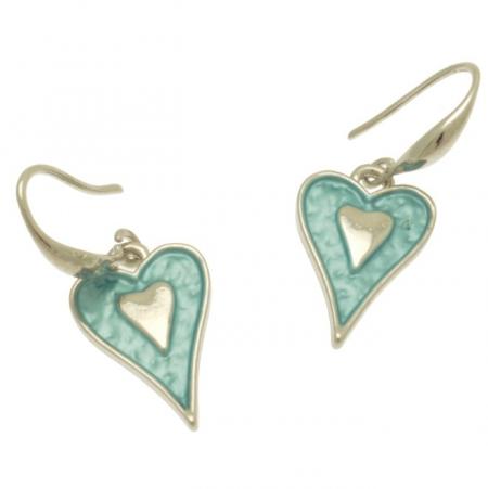 Aqua Heart Earrings