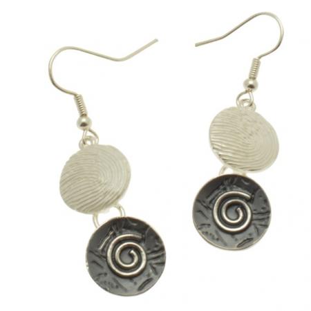 Grey Coin Earrings
