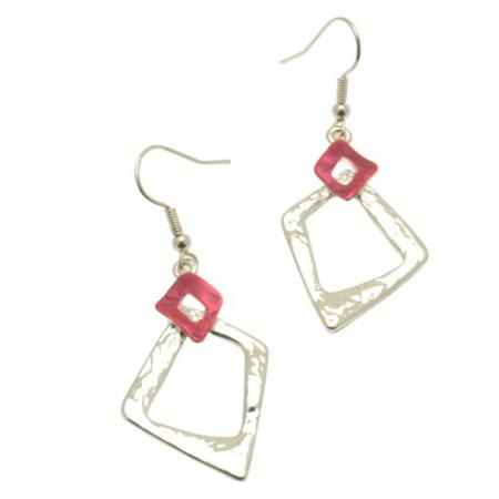 Pink & Silver Earrings