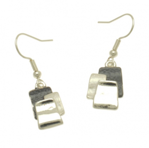 Grey & Silver Overlay Earrings