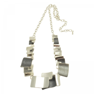 Grey & Silver Overlay Necklace