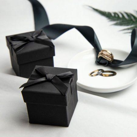 Black Ribbon Bow Gift Box