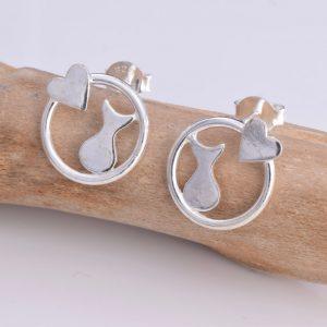 Cat & Heart Silhouette Stud Earrings