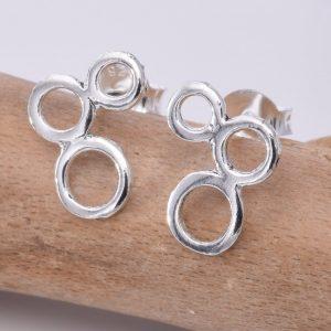 3 Bubbles Silver Stud Earrings