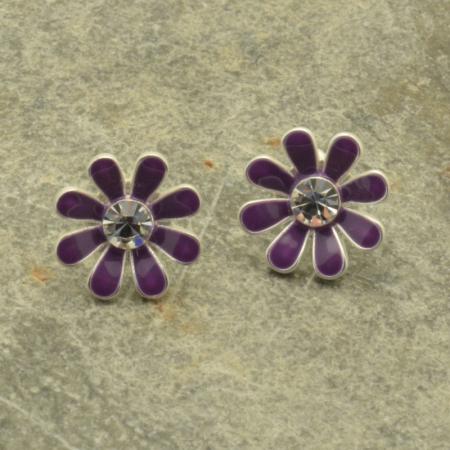 Purple Daisy Earrings