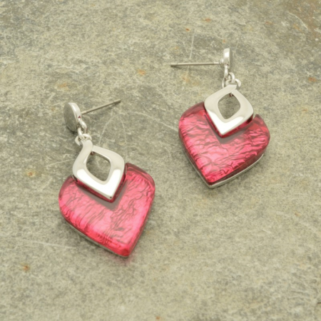Dark Pink and Mink Earrings