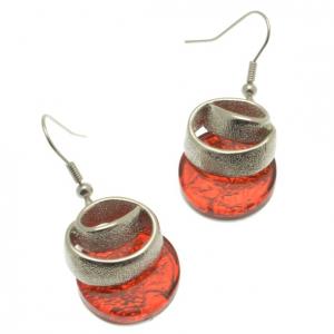 Dark Orange Ribbon Earrings