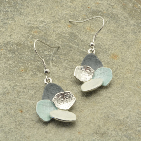 Grey and Mint Green Cluster Earrings