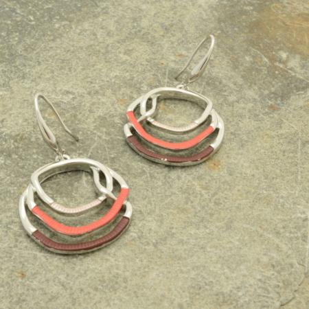 Coral and Purple Hoop Earrings