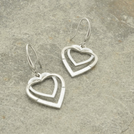 White and Silver Double Heart Earrings
