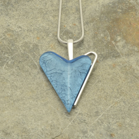 Blue Asymmetric Heart Necklace