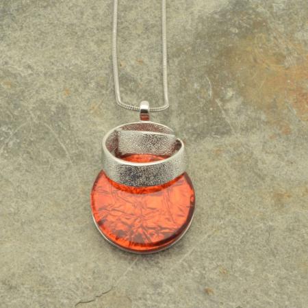 Dark Orange Ribbon Pendant Necklace
