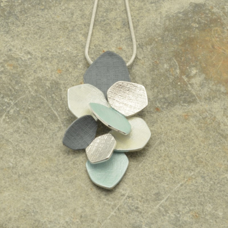 Grey and Mint Green Cluster Necklace
