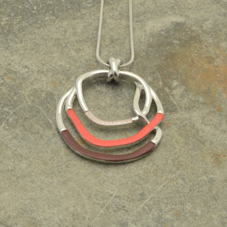 Coral and Purple Hoop Necklace