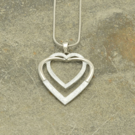 White and Silver Double Heart Necklace