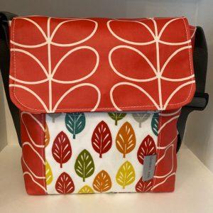 Eleanor's Attic Matt Oil Cloth Reporter Bag - Orla Kiely Red Linear Stem/Multi Leaf