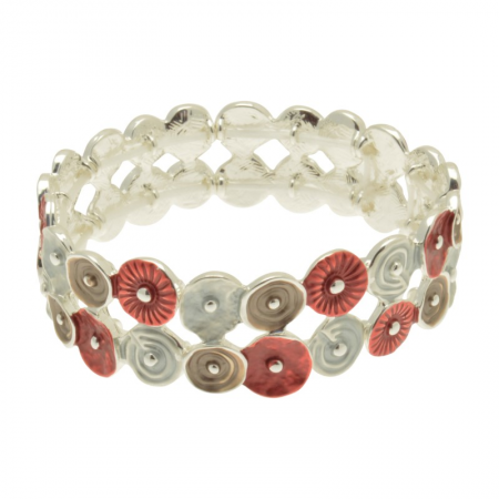 Red, Grey and Mocha Bracelet