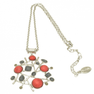 Red and Grey Crystal Necklace