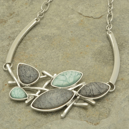Grey and Mint Green Resin Droplet Necklace
