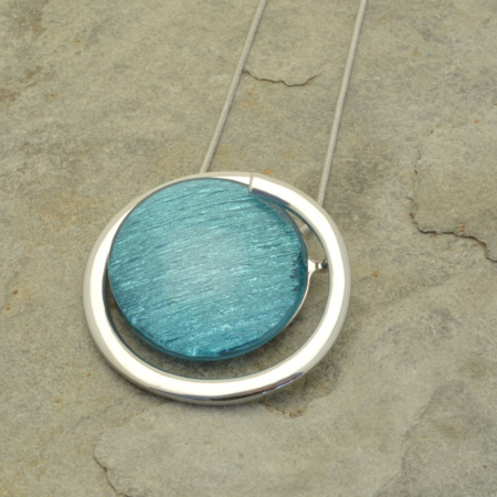 Teal and Silver Globe Pendant
