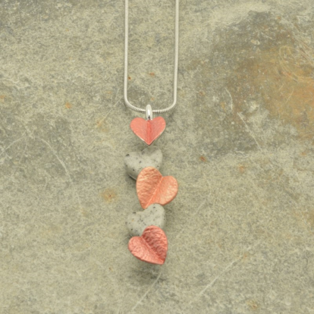 Orange and Gold Heart Drop Necklace