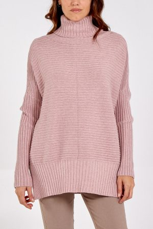 Knitted Rib Roll Neck Jumper - Dusty Pink