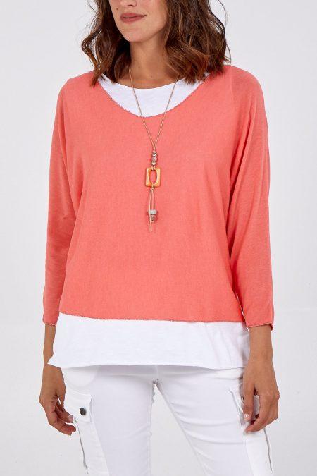 Necklace Top - Coral