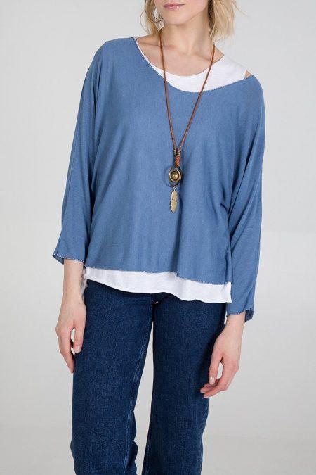 Necklace Top - Denim Blue