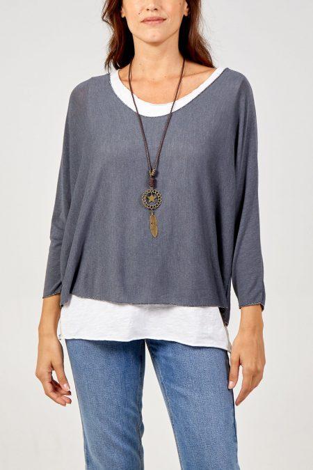 Necklace Top - Mid Grey
